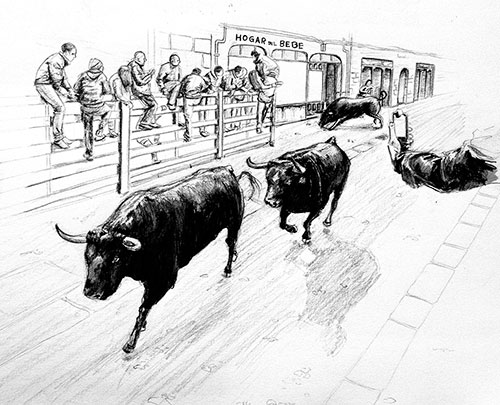 The desencierro, a reverse encierro in which bulls are run through the streets from the bullring to the corrals at the edge of town.